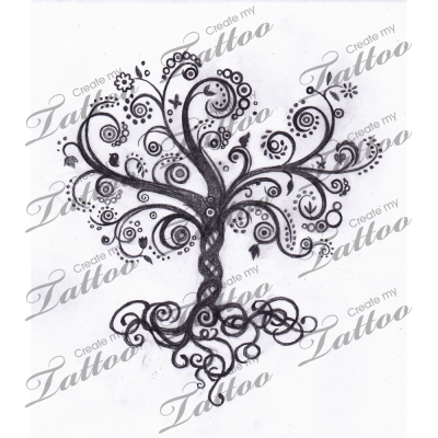 Whimsical Tree Of Life Swirly Tree 13168 Createmytattoo Com