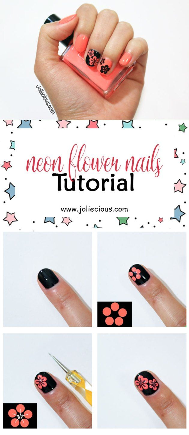 Neon Flower Nails Tutorial Summer Nails Flower Nail Art Design