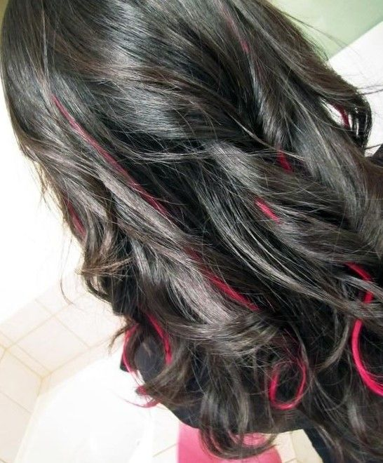Curled Black Hair With Pink Highlights Hairstyle Dyedhair