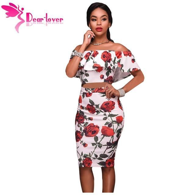 ff24ad485396 Dear Lover Club Party Outfits Ladies Suits Vestidos Red Roses Print  Two-piece Ruffles Crop Top with High Waist Skirt Set LC63023