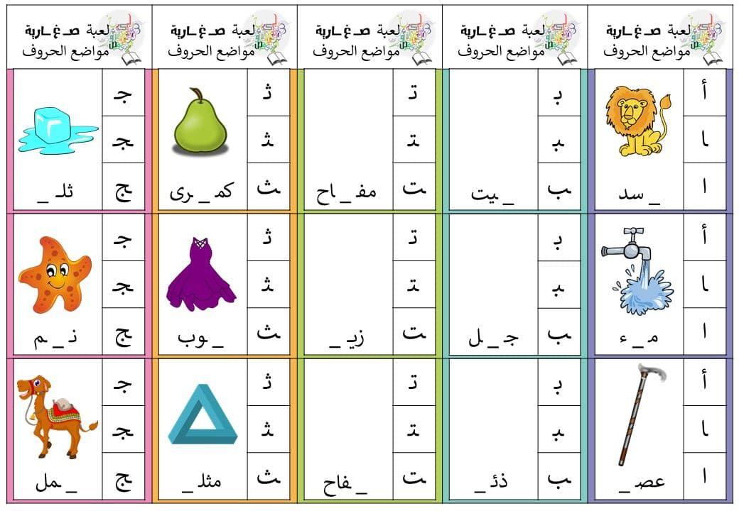 بطاقة مواضع الحروف لتدريب الطلاب على الحروف في مواضعها المختلفة