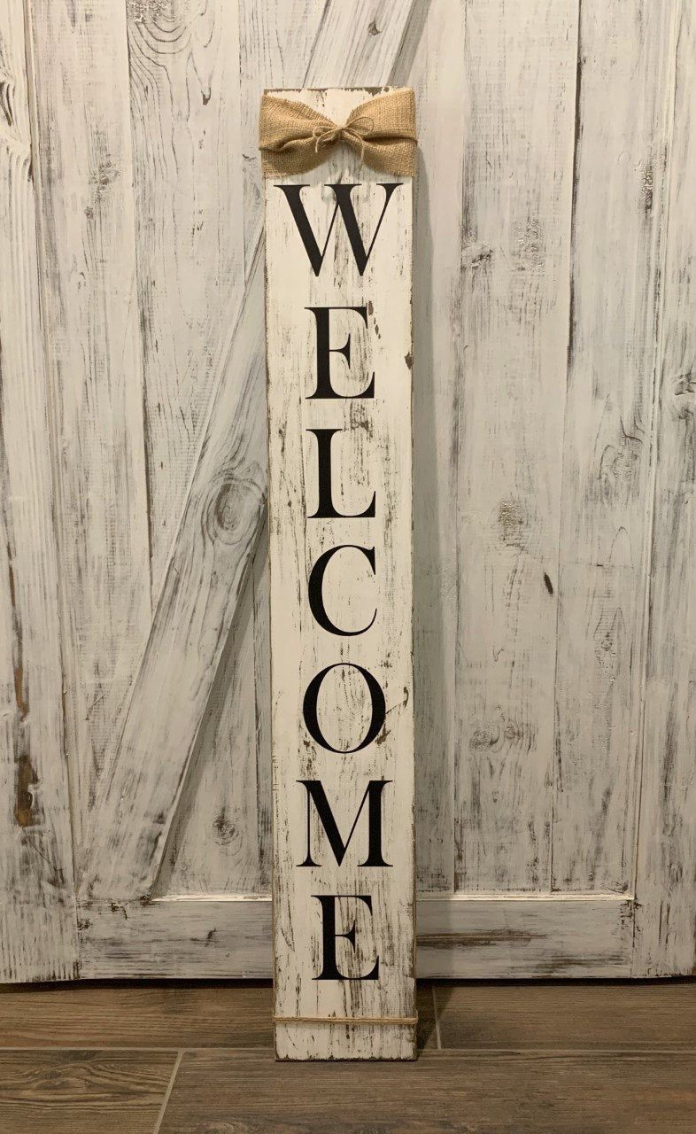 Welcome Sign Porch Sign Wood Sign Chippy Wood Sign Etsy In 2020 Porch Signs Wooden Welcome Signs Welcome Signs Front Door