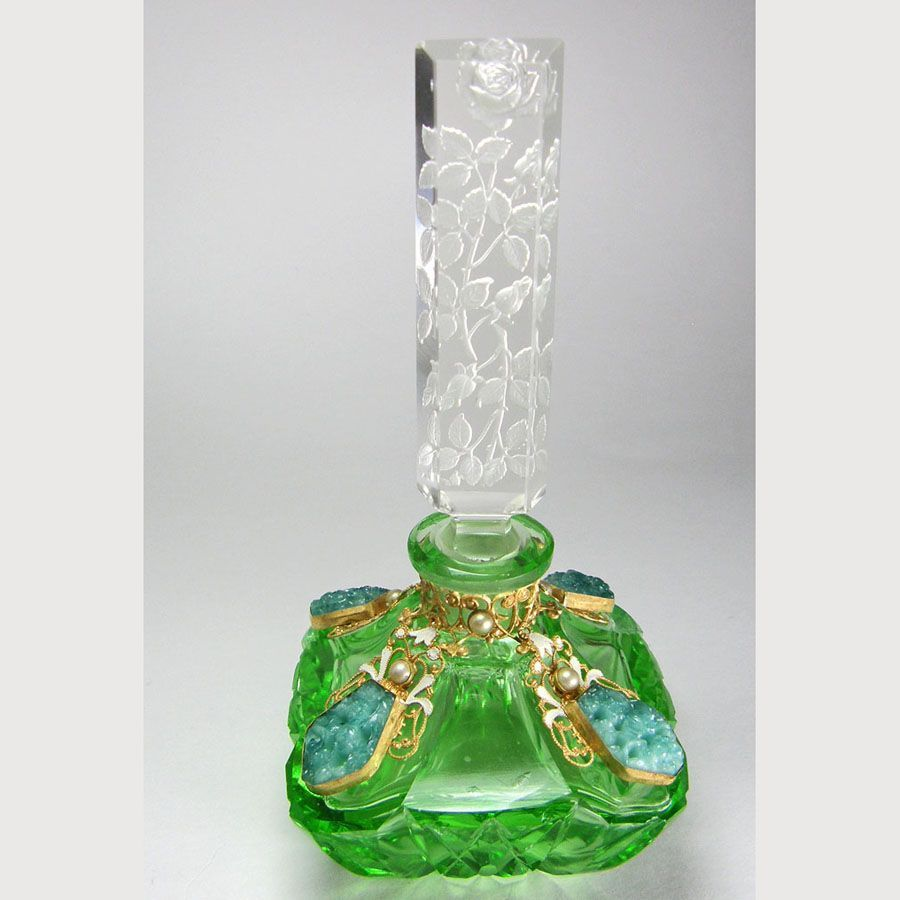 Czech Jeweled Perfume Bottle Green with Malachite Glass Stones from marshacraftsantiques on Ruby Lane