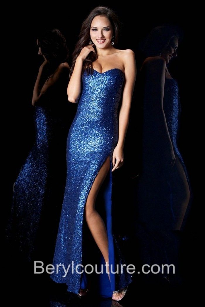 Sheath Strapless Sweetheart Royal Blue Sequin Prom Dress With Slit ...