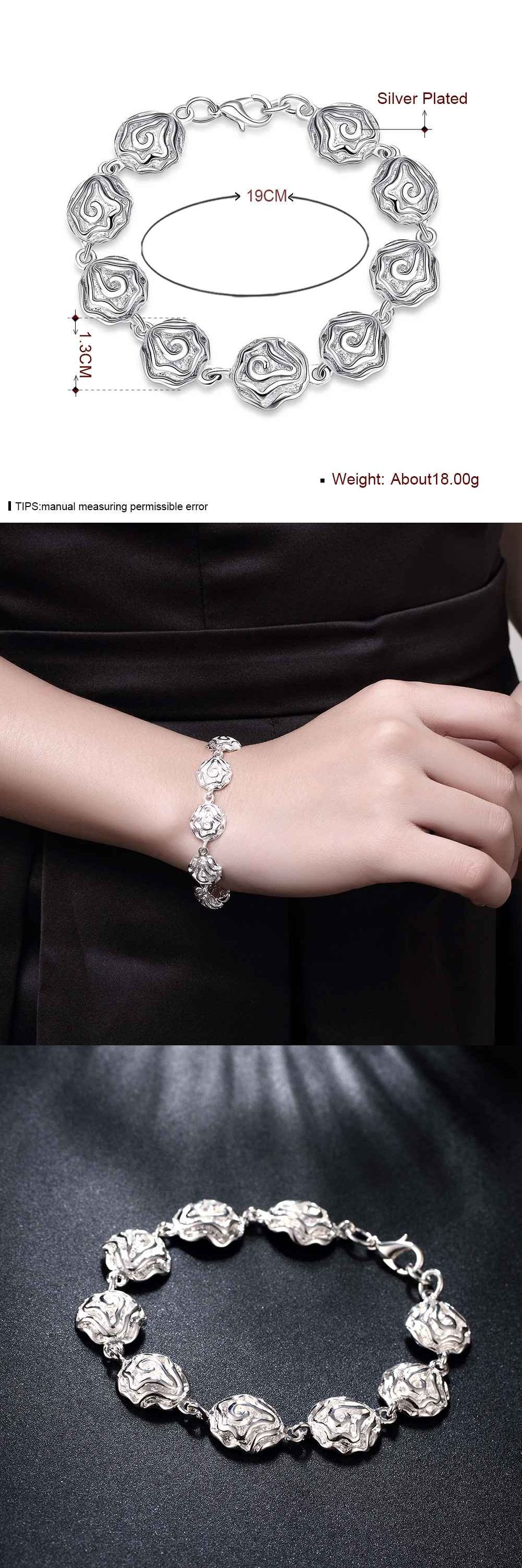 Floating charms silver bracelets for women pulseras pcs rose