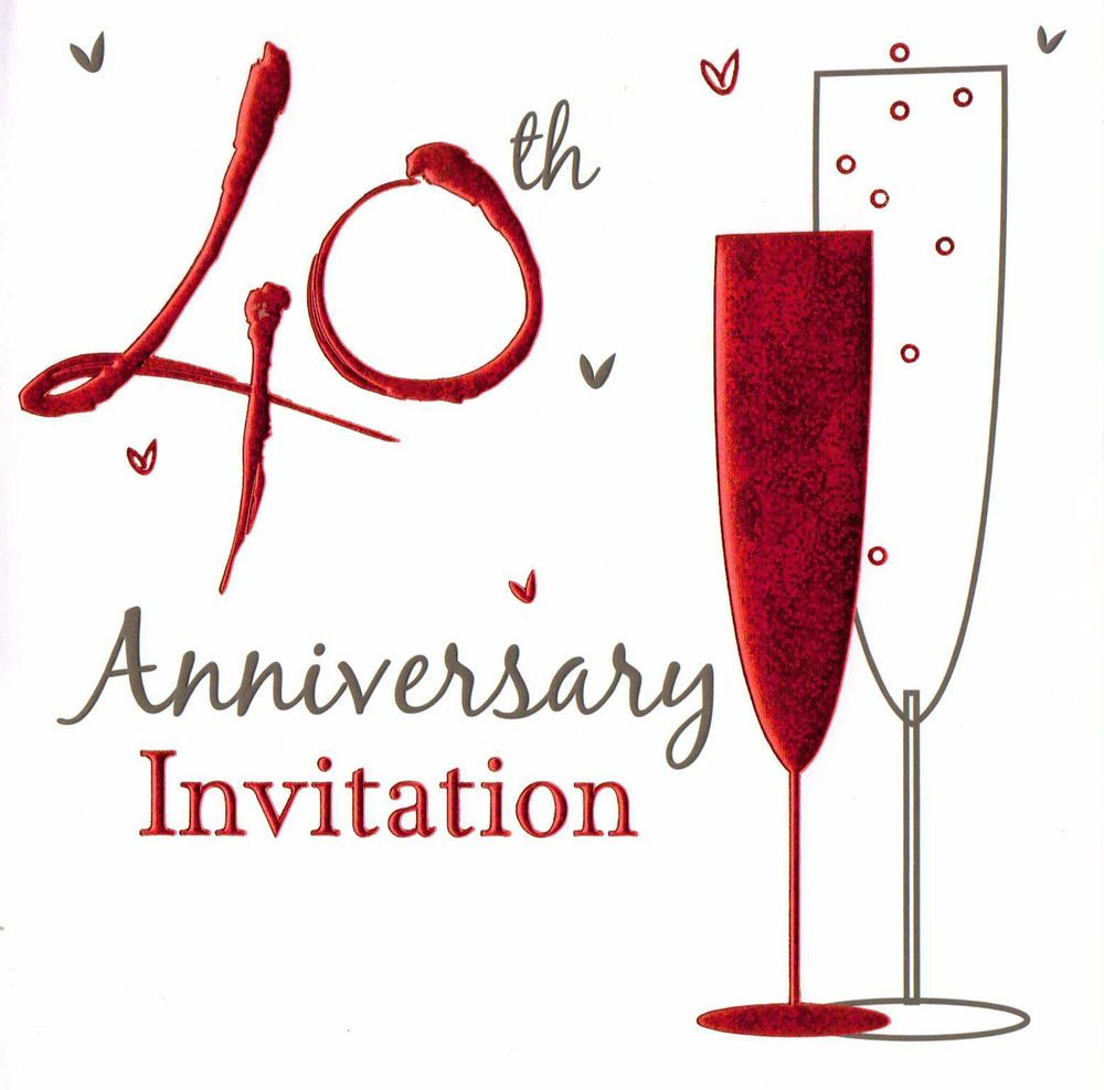 36 x ruby wedding anniversary invitation cards 40th party invites 40 ...