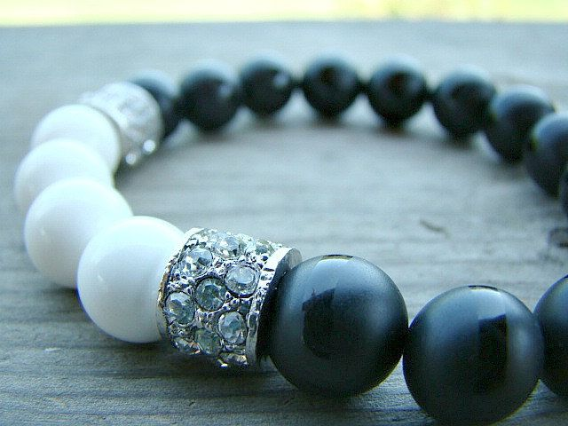 Black Beaded Bracelet, Black, Gemstone Stretch Bracelet, Beaded Bracelet Women, Bead Bracelet, Agate, Stone, Gemstone Jewelry, Gift for Her by BeJeweledByCandi on Etsy