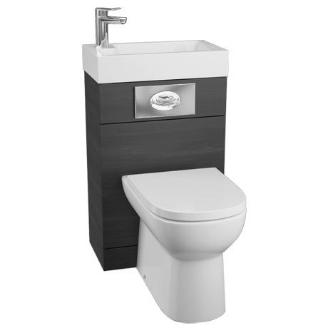Metro 500 Black Ash Combined 2 In 1 Wash Basin Toilet Small Toilet Room Wash Basin Cloakroom Toilet Small