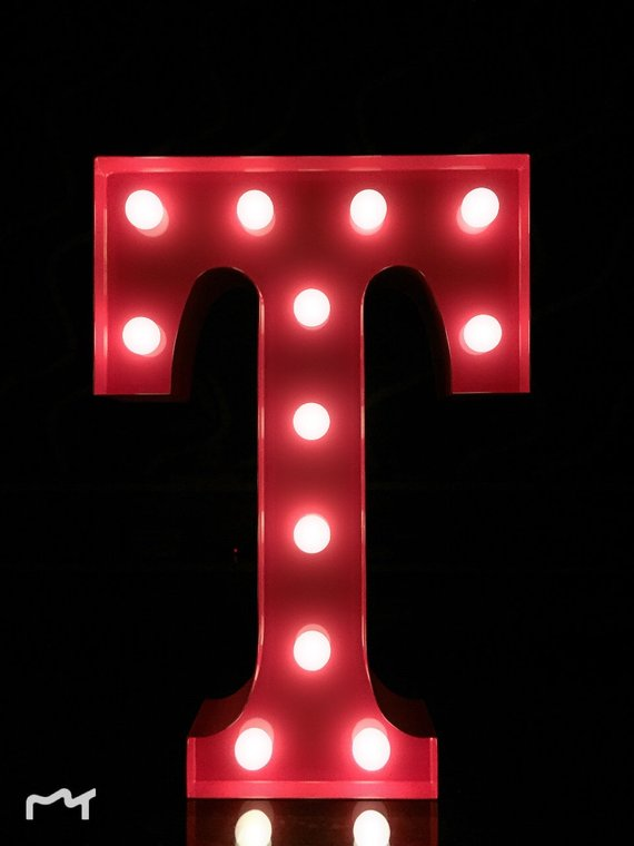 12 Metal Light Up Letters Red T Marquee Letters Marquee