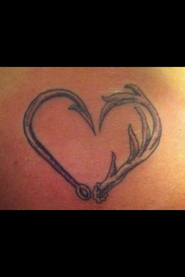 Hook antler tattoo love this i wonder if i would work for Fish hook heart tattoo