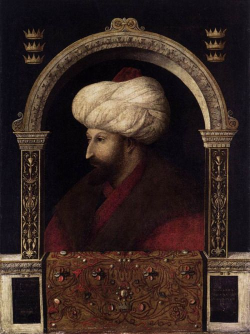 medievalpoc:  Gentile Bellini Mehmet II Oil on canvas, 70 x 52 cm Italy (1480) Gentile Bellini visited Constantinople from 1479 to 1481. The trip was undertaken in the wake of the peace treaty made between Venice and theTurkishsultan, Mehmet II, who took the opportunity of asking the Venetian Senate to send him a good portrait painter. The portrait was the first work in which Gentile shifted the position of the sitter's head and body away from pure profile toward the three-quarter view made…