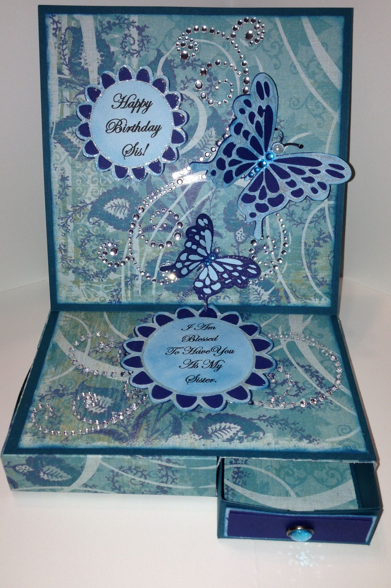 4 drawer easel butterfly birthday card decorative card