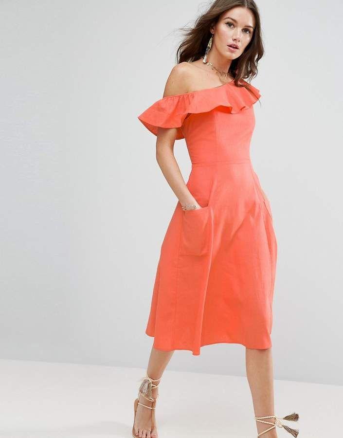ASOS – Schulterfreies Sommerkleid mit One-Shoulder-Träger | Kleider ...