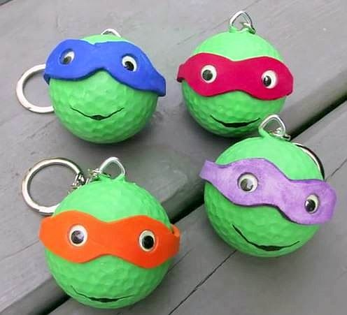 Golfball Keychain Ninja Turtles Step By Step Videotutorial Golf Ball Crafts Golf Ball Crafts