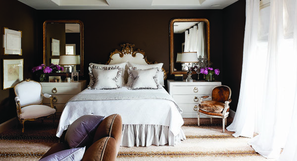 The Cozy Chocolate Brown Master Bedroom Has A Venetian Gilded Headboard Found In France