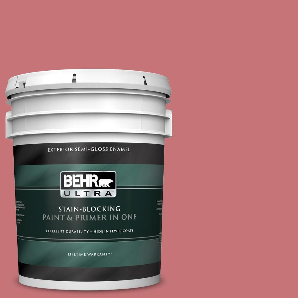 Behr Ultra 5 Gal 140d 5 Rose Chintz Semi Gloss Enamel Exterior Paint And Primer In One In 2020 Exterior Paint Paint Primer Behr Marquee Paint