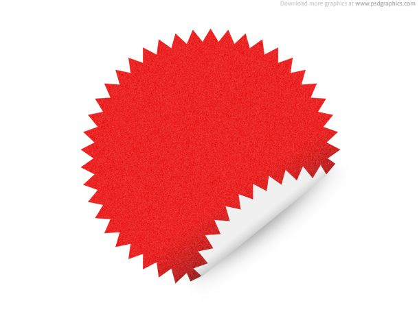 Cool Star shape sticker. Blank star shape sticker with curled edge ...
