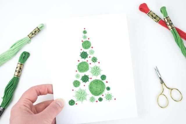 Embroider A Christmas Or Winter Card For Someone Special By Stitching This Free Polka Dot Tree Em Diy Christmas Cards Christmas Embroidery Christmas Tree Cards