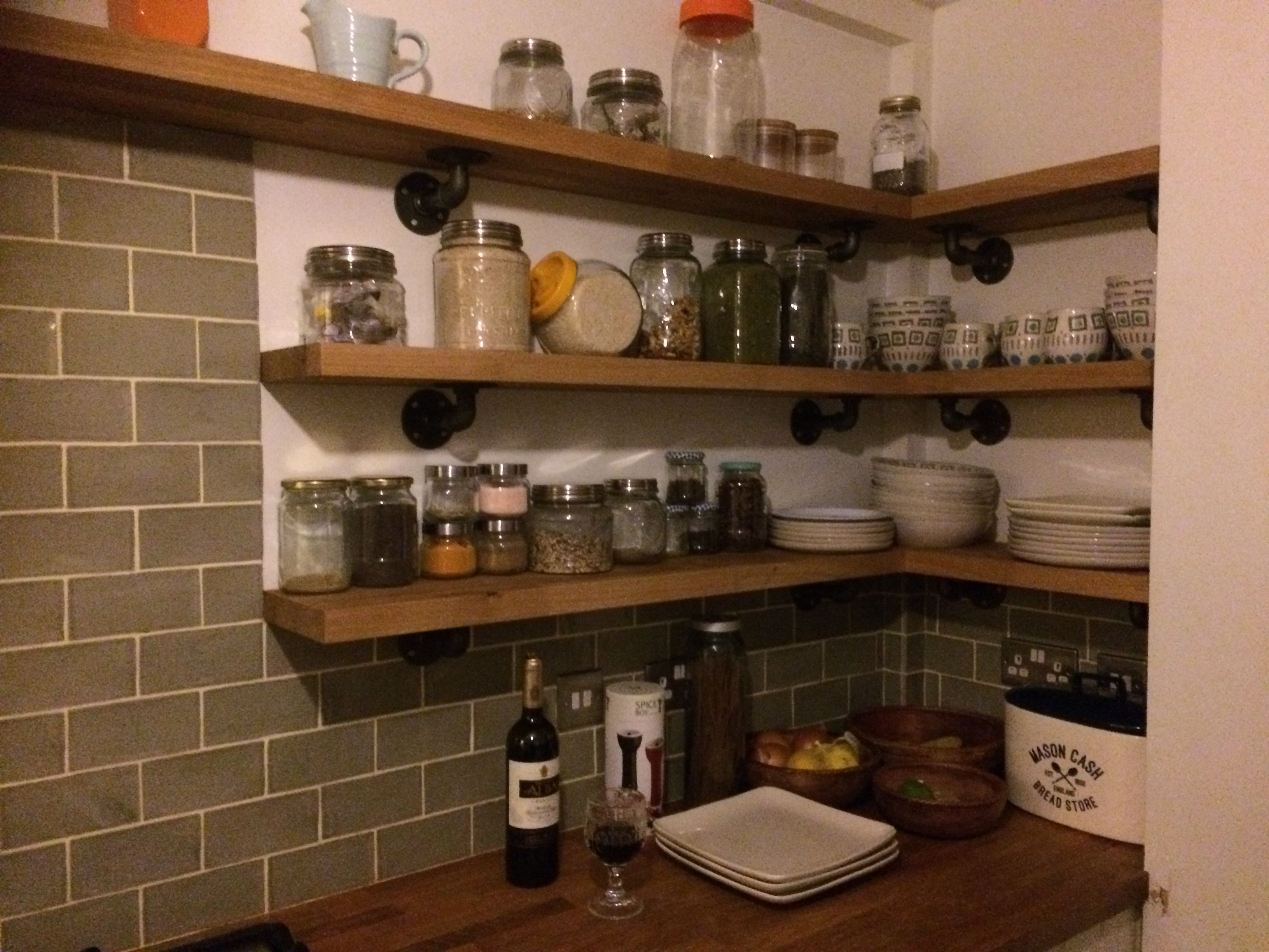 Small shelves in my kitchen create a feeling of more space