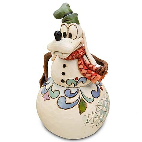 Gawrsh! No ordinary snowman, this Goofy Figurine is decorated with famed artist Jim Shore's trademark folk art style.      Rounded base allows figurine to wobble     Hand-painted stone resin     6'' H Imported Disney Traditions Jim Shore Figure - Snowman Goofy
