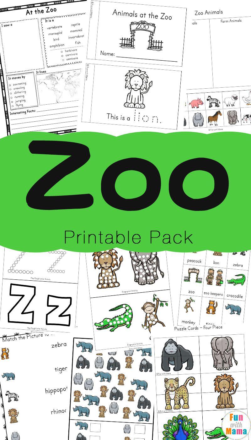 Zoo animal activities for preschoolers kindergarteners speech