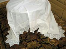 Vintage Bed Sheet -    Wide Crochet Trim -    This is a lovely vintage bed sheet with a 5 1/2 inch wide decorative crochet lace trim.    The crochet trim is along the top edge - gathered around the corners - and extends down both sides for about 35 inches -    This sheet measures approx 104 inches long and 80 inches wide  $120.00