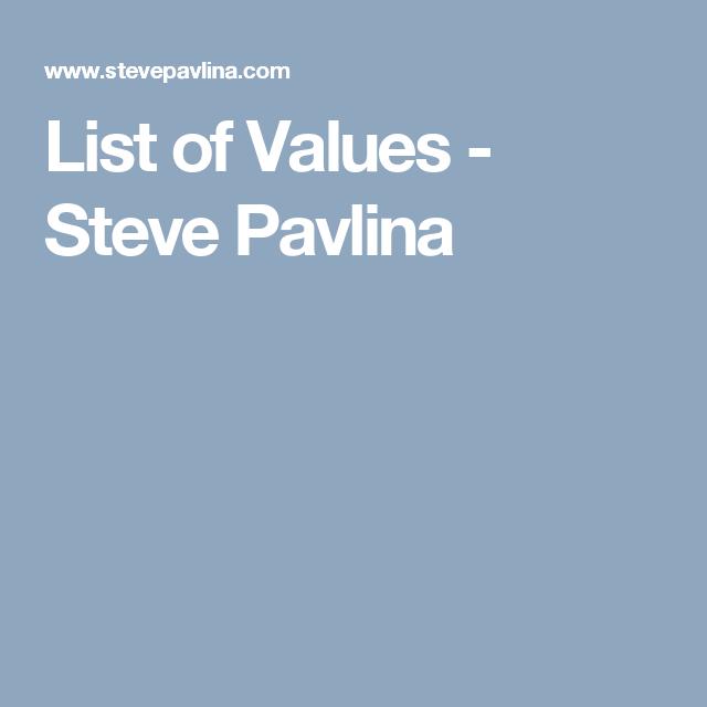 List of Values - Steve Pavlina