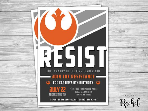 Force Awakens Star Wars Birthday Invitation Join The Resistance