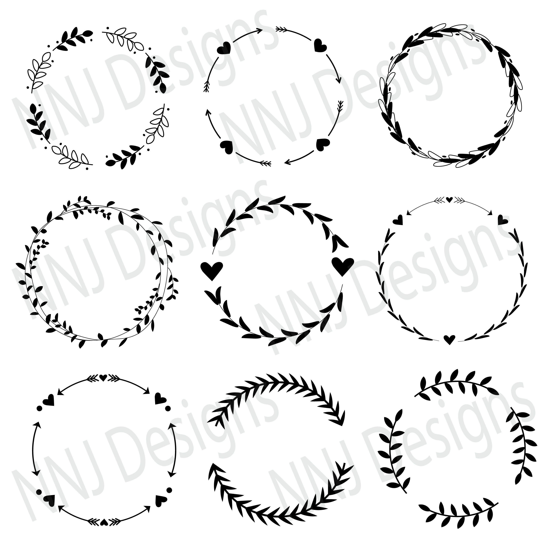 Photo of Laurel Wreath SVG Bundle Round Circle Monogram Frame Leaves Hand Drawn Floral Heart Silhouette Cricut Digital Download eps pdf dxf png svg