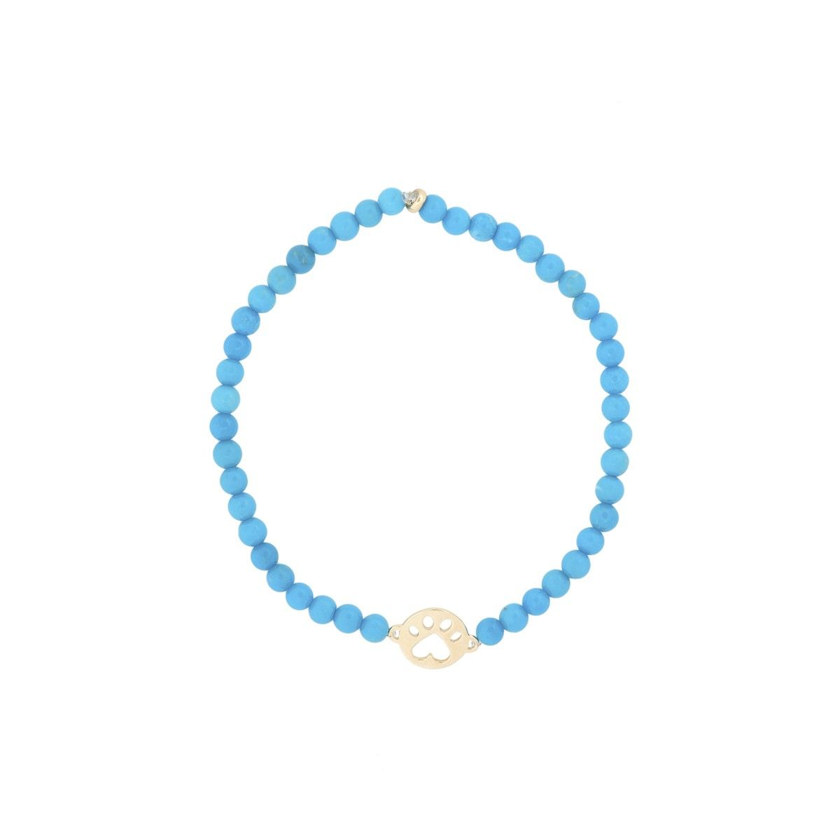 Our Cause For Paws 14k Mini Paw And Turquoise Bead Bracelet
