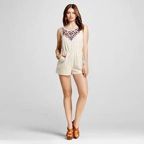 b28165ec73fe Women s Embroidered Lace Romper - Xhilaration™ (Juniors )   Target ...