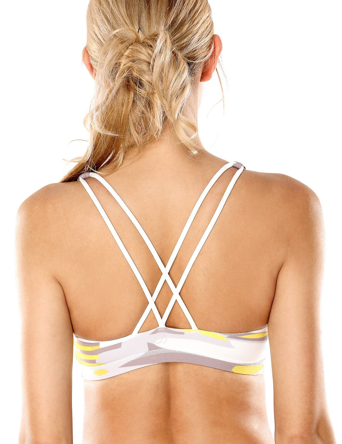 670d43c3a50 CRZ YOGA Womens Light Support Cross Back Wirefree Removable Cups Yoga Sport  Bra Multicoloured