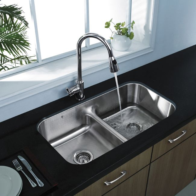 vigo premium collection undermount stainless steel double kitchen sink and faucet - Double Kitchen Sink