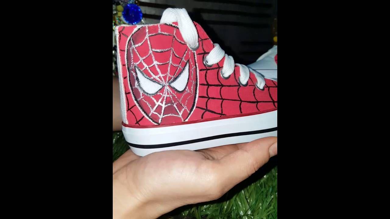 Scarpette bimbi Spiderman dipinte a mano