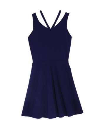 Sally Miller Girls' The Double-Strap Fit-and-Flare Dress, Big Kid - 100% Exclusive - Navy #sallymiller