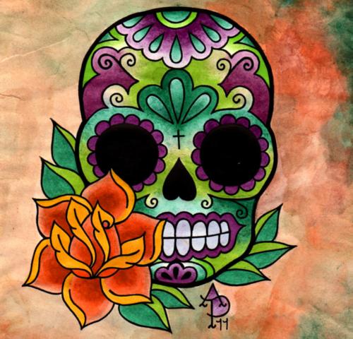 calavera mexicana flor