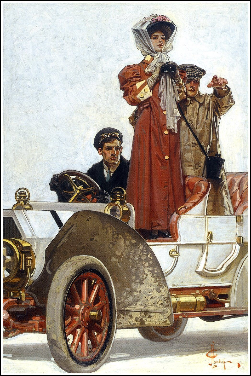 J.C. Lyendecker - The Lady and her Motorcar - 1906