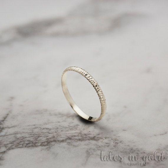 Gold Ring Band Ring 14 karat gold Ring Scratched Ring Minimal