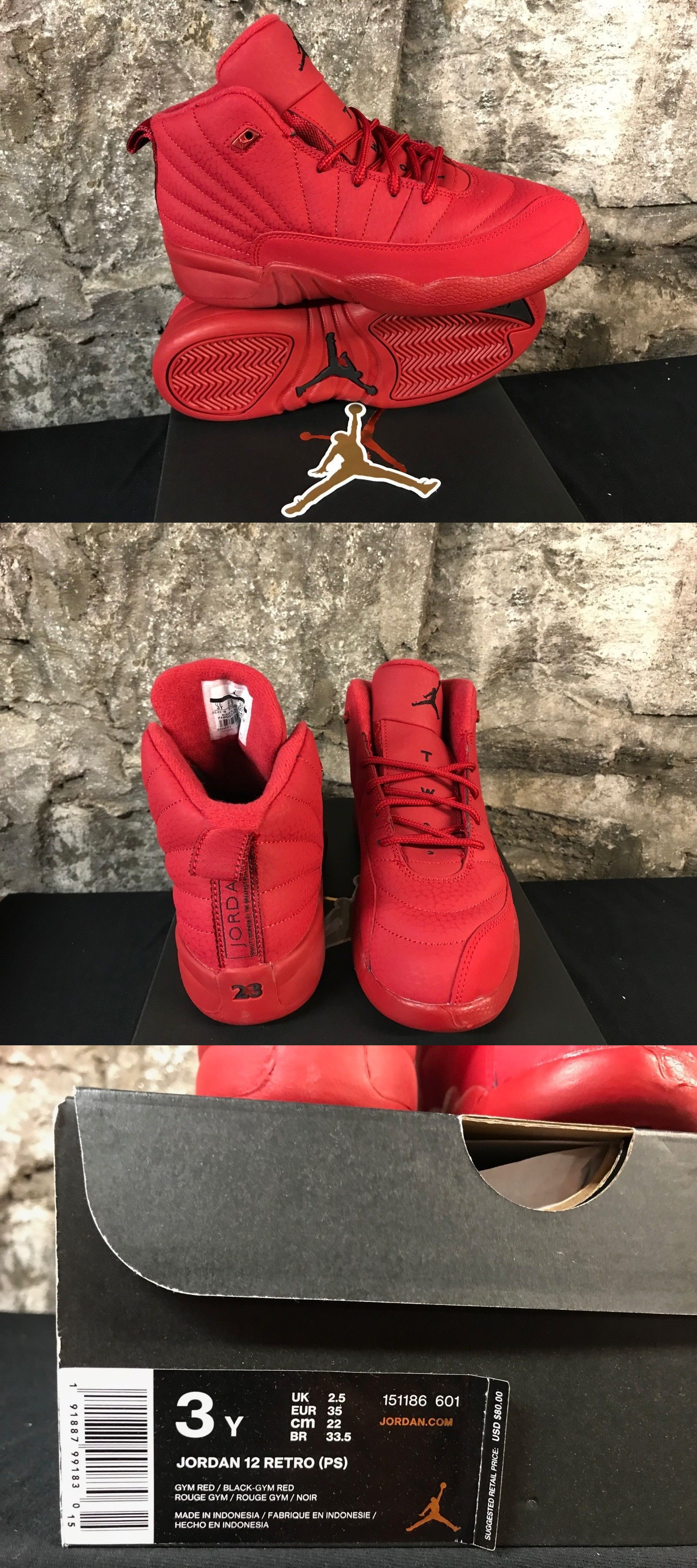 f619b81d723e0 Baby Shoes 147285  Air Jordan 12 Retro Red Toro Ps Kids 151186-601 Gym Red  2018 Ships Now! -  BUY IT NOW ONLY   95 on  eBay  shoes  jordan  retro   ships