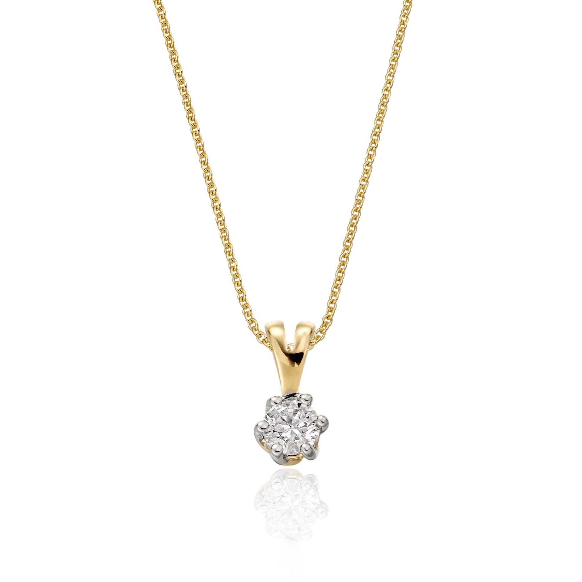 This stunning solitaire diamond pendant has a ct brilliant round