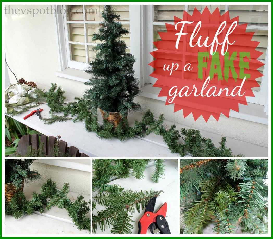 Sprucing Up A Fake Garland With Real Greenery Christmas Greenery Garland Real Christmas Tree