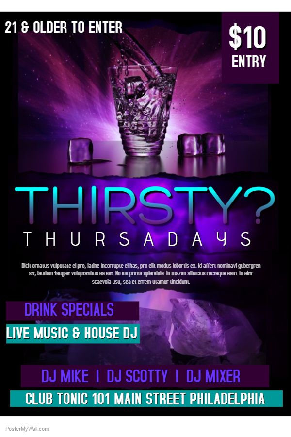 Bar Thirsty Thursday Flyer Template Click On The Image To Customize