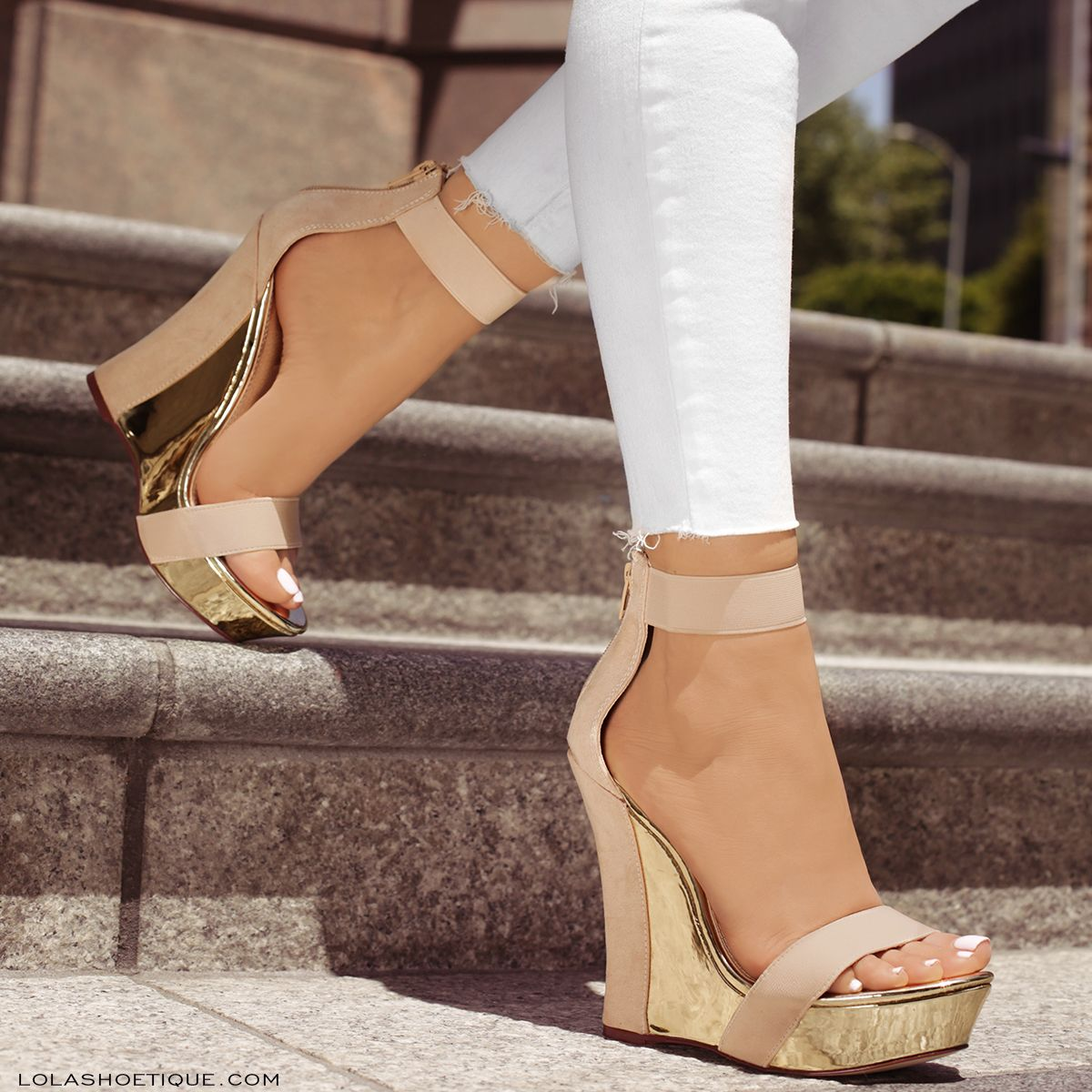 eb45a8f48f6 Gold Metallic and Nude Wedges