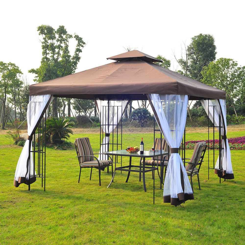 Metal Garden Gazebo Canopy Outdoor Event Pavilion Tent Shade Structure Stand Net  sc 1 st  Pinterest & Metal Garden Gazebo Canopy Outdoor Event Pavilion Tent Shade ...