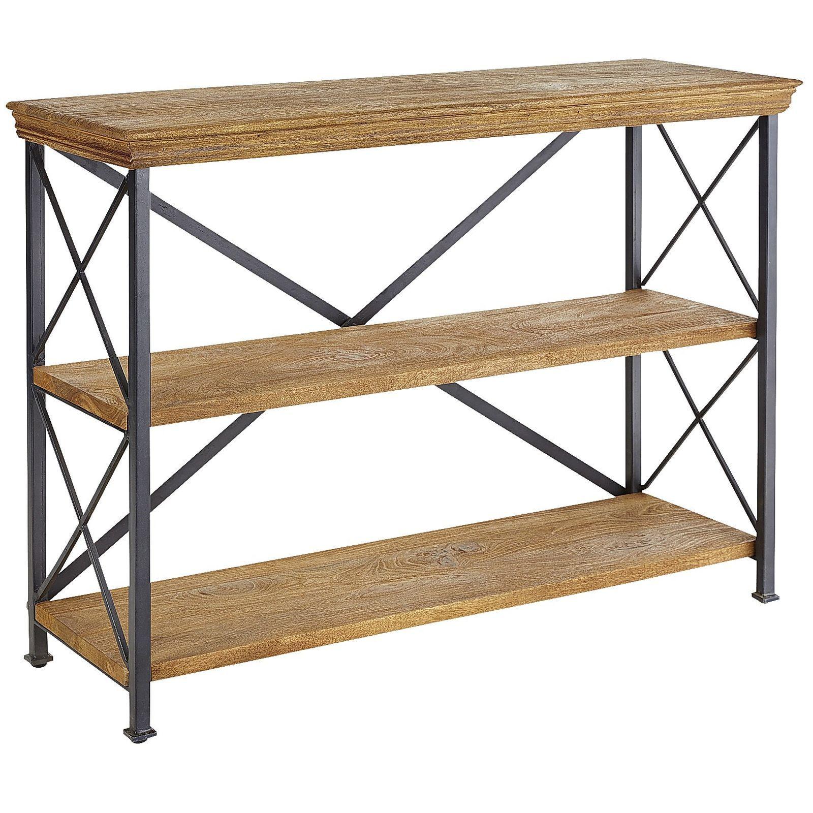 Metro Weathered Java Low Shelf Metal Shelves Shelves Low Shelves