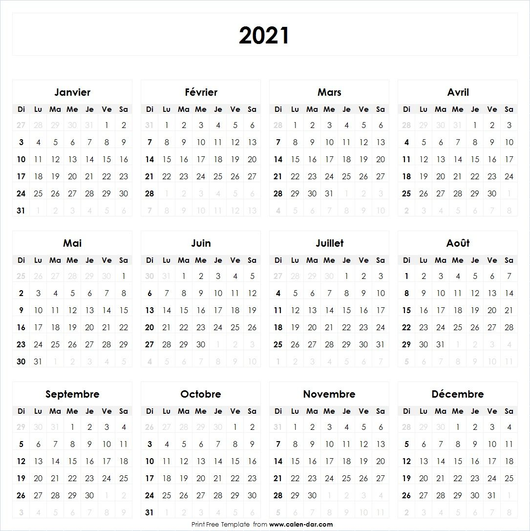 Calendrier 2021 in 2020 | Bullet journal 2020, Calendar printables