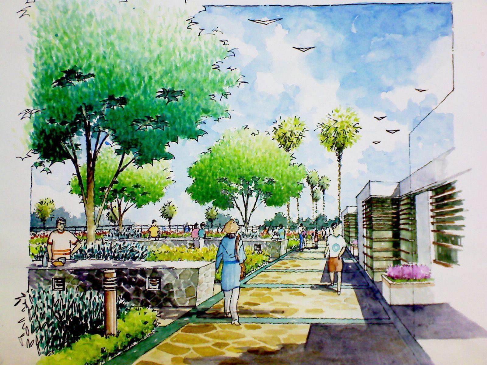 Landscape Design Perspective Central Plaza Modern Landscape Urban Design Landscape Corridor A Landscape Plaza Landscape Architecture Park Landscape Design