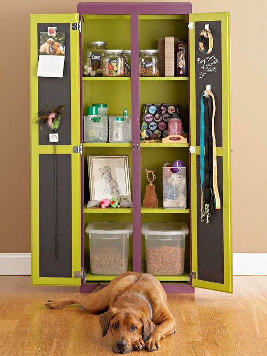Corral all your pet's gear in one slim, attractive cupboard. A cabinet from an unfinished furniture store is an inexpensive workhorse. Paint it a jaunty color to keep it from looking utilitarian. Then stock the shelves with airtight canisters for food and treats; as well as bins for toys, medicines, and waste bags. Finally, stick on some heavy-duty adhesive hooks to keep leashes at the ready.