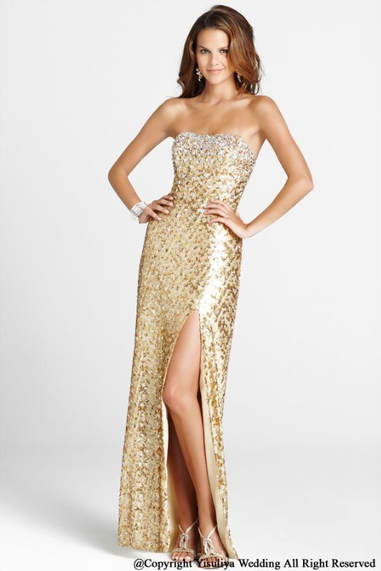 Fashion Sexy Gold Sequined Strapless Evening Gown | Haute fashion ...