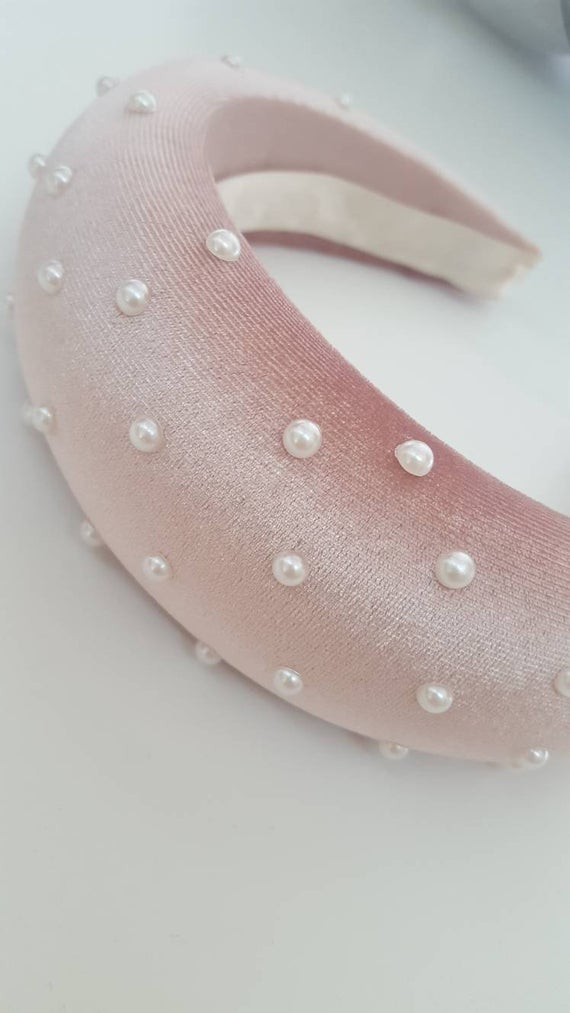 Pink headband, kate middleton style, puffy headband fascinator headband, Padded headband, Wedding party, kentucky derby hat, Fancy headband